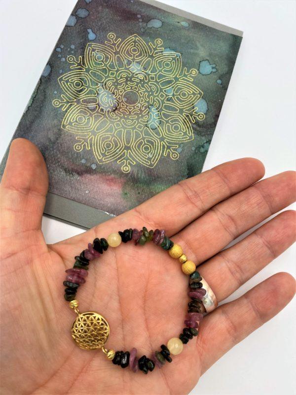 Edelsteinarmband bunter Turmalin mit Orangencalzit und Geschenkkarte - Schutz und Ausgeglichenheit 1 SanjaNatur
