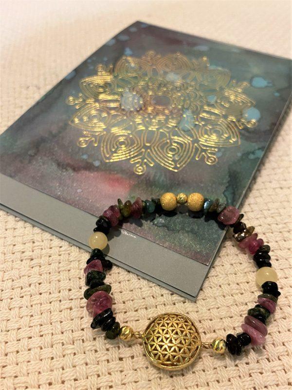 Edelsteinarmband bunter Turmalin mit Orangencalzit und Geschenkkarte - Schutz und Ausgeglichenheit 3 SanjaNatur