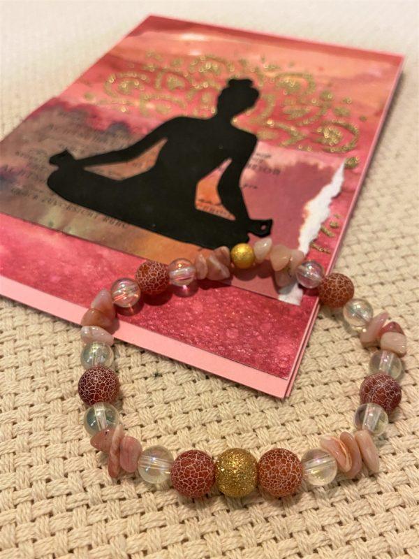 Edelsteinarmband roter Achat, Angel Aura, Rhodonit mit Geschenkkarte - Glück und Begeisterung 2 SanjaNatur