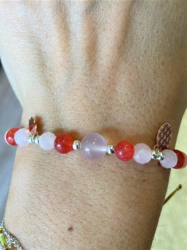 Set: Koralle mit Rosenquarz Armband mit passenden Ohrhängern - Liebe, Beziehungen, Schutz 3 SanjaNatur