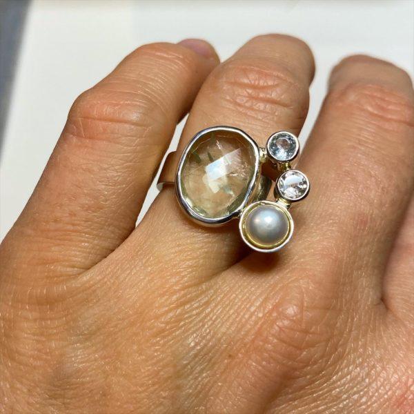 Edelstein Ring: Prasiolith, Topas, Perle, Gr. 55 -Weiblichkeit, Schönheit, Eleganz 1 SanjaNatur