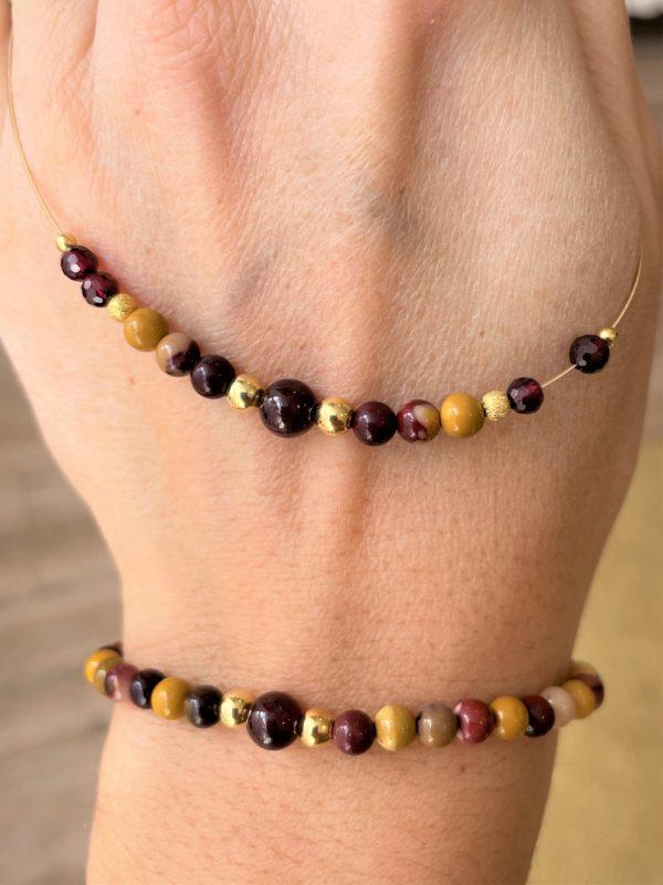 Set: Mookait + Granat Halskette mit passendem Armband - Ausgleich, Ruhe, Einklang 1 SanjaNatur