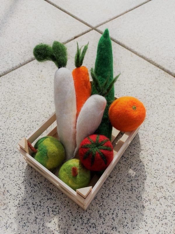 Obst- und Gemüse gefilzt 001 mit Echtholzkiste 1 SanjaNatur