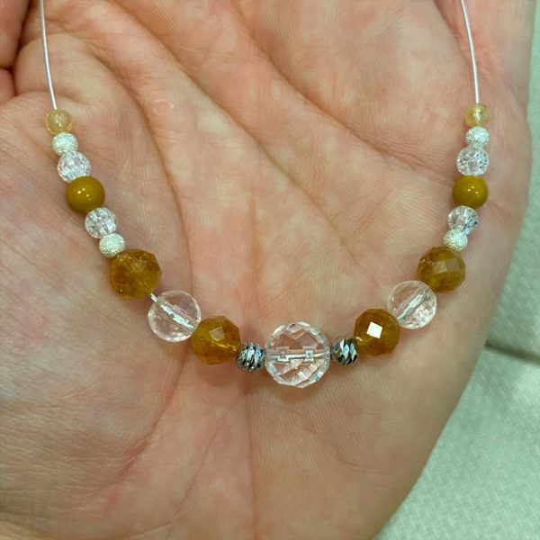 Heilsteinkette Bergkristall mit Citrin Silber - Klarheit und Selbstvertrauen 2 SanjaNatur