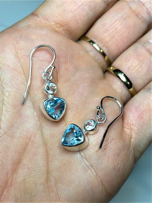 Edelstein Ohrhänger Topas - weiß und blau 2 SanjaNatur