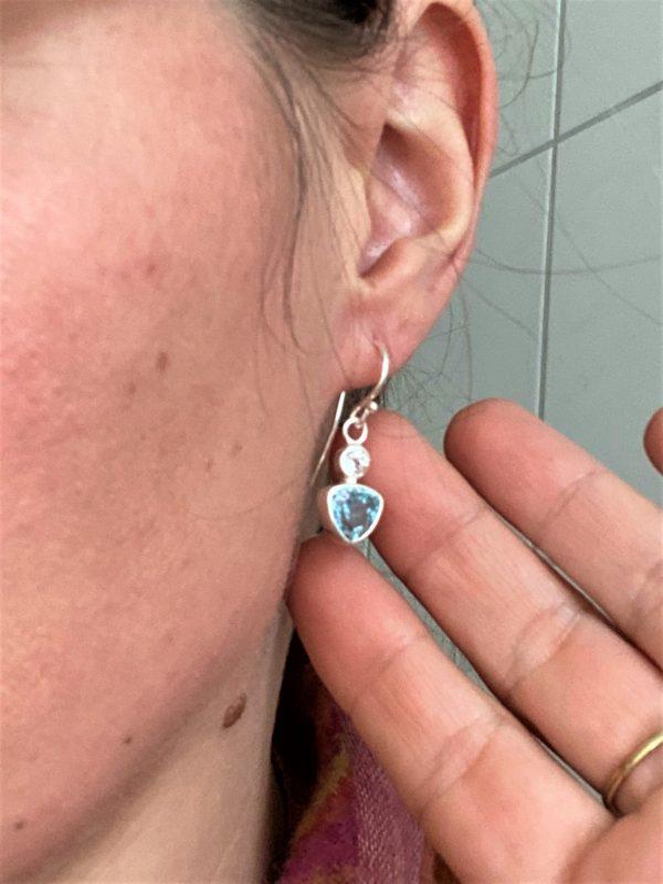 Edelstein Ohrhänger Topas - weiß und blau 3 SanjaNatur