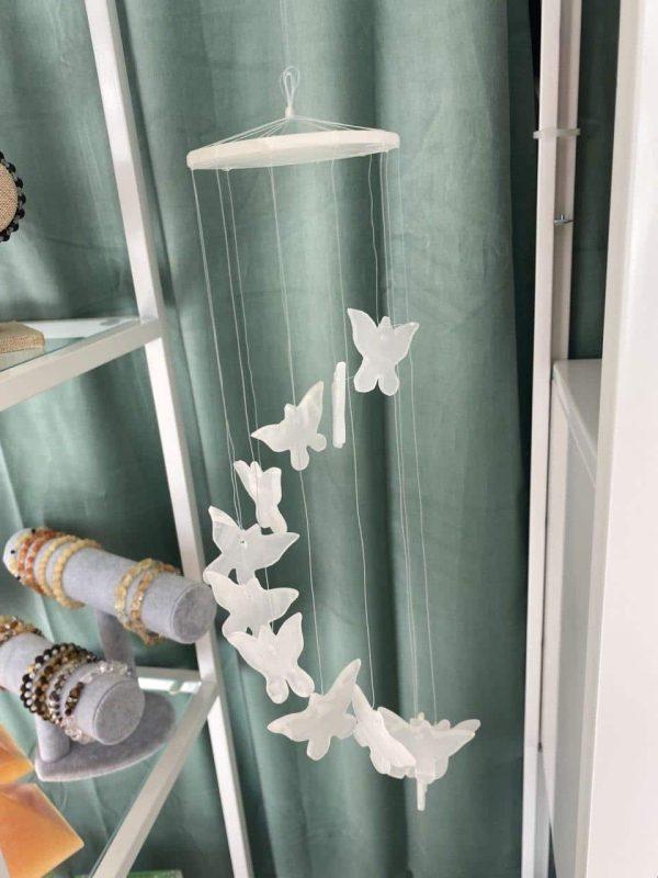 Mobile Schmetterling Aragonit (weiß), 30 cm 1 SanjaNatur